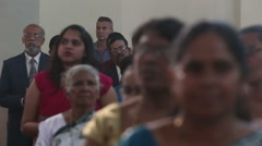 parishioners in the church are preaching in the Catholic Church in India - stock footage