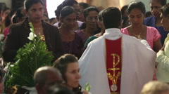 Indian parishioners in the church commune Stock Footage