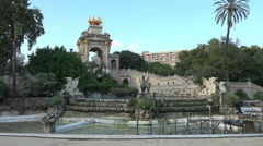 Barcelona Spain Parc de la Ciutadella Cascada fountain 4K 072 Stock Footage