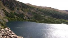 (Seamless Loop) Overlooking Alpine Lake Stock Footage