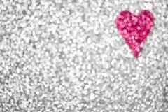 Silver Glitter Sparkle Pink Heart Background Stock Photos