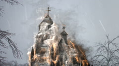 Burning church viking attack Stock Footage