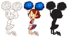 An energetic cheerdancer Stock Illustration