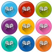 Round buttons with video game remote controls Piirros