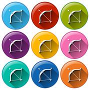 Buttons with bow and arrow Stock Illustration
