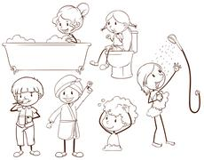 Stock Illustration of Kids grooming