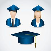 Stock Illustration of illustration of icons of graduates. university icons. vector illustration