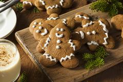 homemade decorated gingerbread men cookies - stock photo
