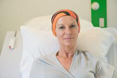 Patient receiving out-patient chemotherapy treatment - stock photo