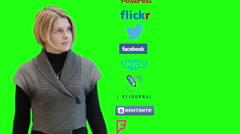 Pretty woman spinning column with social media icons. Skype main page at the end Stock Footage