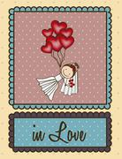illustration of bride with hearts balloons, love icons, vector illustration - stock illustration
