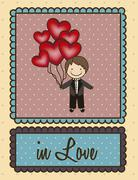 illustration of groom with hearts balloons, love icons, vector illustration - stock illustration