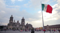 FULL SHOT. Metropolitan Cathedral and mexican flag. Stock Footage