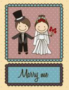 illustration of loving couple proposing marriage, love icons, vector - stock illustration