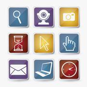 Illustration of business and web icons. cameras, laptop, mouse, clock. vector Stock Illustration