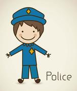 illustration of a cop in a suit, police icon, vector illustration - stock illustration