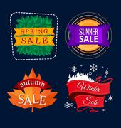 Various seasonal sale event title Stock Illustration