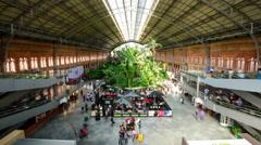 Madrid, Spain at Atocha Railway Station. Stock Footage