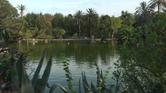 Barcelona Spain Parc de la Ciutadella lake couple 4K 075 Stock Footage