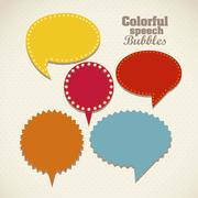 Illustration of retro speech bubbles. colorful text balloons. vector Stock Illustration