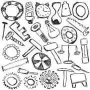 Stock Illustration of set of mechanical spare parts and tools - kids drawing