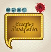 Illustration of  creative portfolio. portfolio with icons. vector illustration Stock Illustration