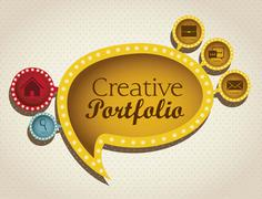 Stock Illustration of illustration of  creative portfolio. portfolio with icons. vector illustration