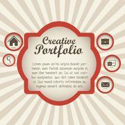 illustration of  creative portfolio. portfolio with icons. vector illustration - stock illustration