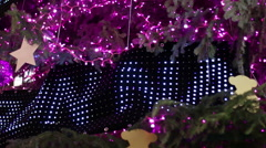 Christmas Pink Led Light Tree Detail - stock footage