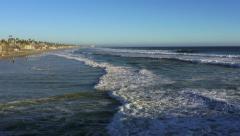 Oceanside Beach Wide View 4k Stock Footage