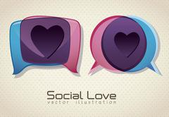 illustration of balloons, love social networking, vector illustration - stock illustration