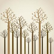 Stock Illustration of trees season, leafless trees in brown colors. spring. vector illustration