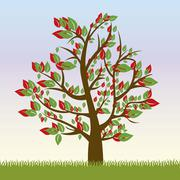 illustration of tree with green leaves and red, spring season, vector - stock illustration
