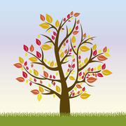 Illustration of tree with yellow, red and orange leaves, autumn season, vector Stock Illustration