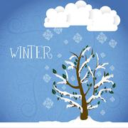 season icon. season cloud, with  snowflakes and tree, vector illustration - stock illustration