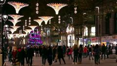 Barcelona Christmas Street Lights Decorations - stock footage