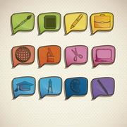 illustration of school icons, student icons, back to class. vector illustration - stock illustration