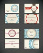 Illustration of business card retro, with vintage colored lines. vector Stock Illustration