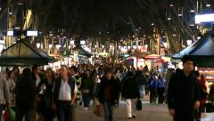 Barcelona Christmas Shopping Crowded Streets Stock Footage