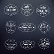 Christmas Vintage Typography Vector Badges Set on Noble Black Stock Illustration