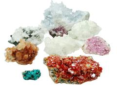 celestite quartz aragonite vanadinite erythrite geological crystals - stock photo