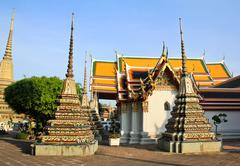 authentic thai architecture in wat pho at bangkok of thailand. - stock photo