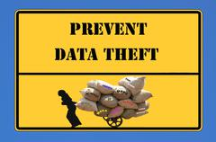 sign prevent data theft - stock illustration