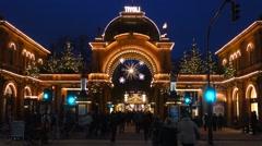 Christmas in tivoli copenhagen Stock Footage