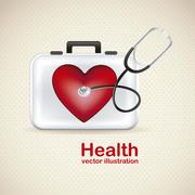 Illustration of health icons isolated on beige background, cardiovascular risk, Stock Illustration