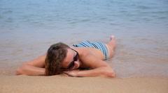 Happy Woman Enjoying Beach Relaxing in Tropical Sea. Stock Footage