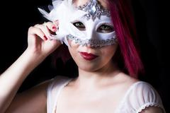 girl with the mask - stock photo