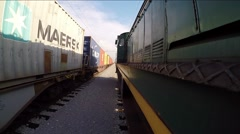 Railway journey from the side view Stock Footage