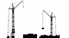 Silhouette of two cranes working on the building. white screen background. 4k Stock Footage