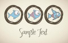 illustration of  fish drawings, aquatic animals, vector illustration.. - stock illustration